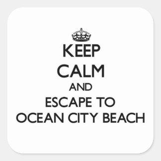 Keep calm and escape to Ocean City Beach Maryland Square Sticker