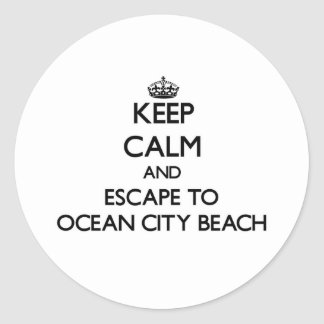 Keep calm and escape to Ocean City Beach Maryland Classic Round Sticker
