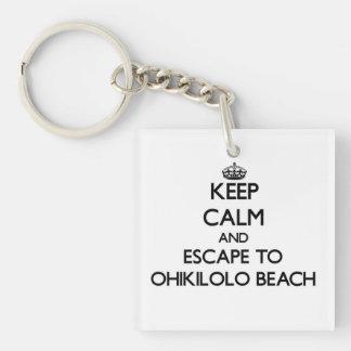 Keep calm and escape to Ohikilolo Beach Hawaii Square Acrylic Key Chain