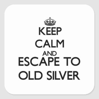 Keep calm and escape to Old Silver Massachusetts Square Sticker