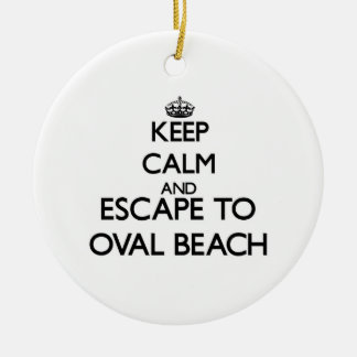 Keep calm and escape to Oval Beach Michigan Christmas Ornaments