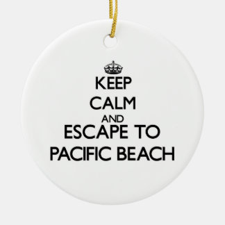 Keep calm and escape to Pacific Beach California Christmas Tree Ornament