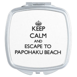 Keep calm and escape to Papohaku Beach Hawaii Makeup Mirrors
