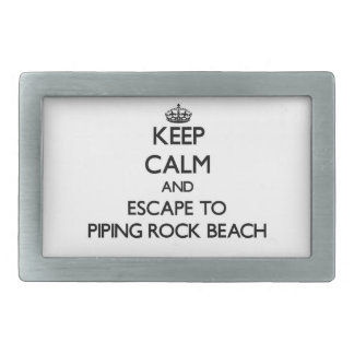 Keep calm and escape to Piping Rock Beach New York Rectangular Belt Buckles