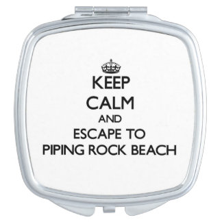 Keep calm and escape to Piping Rock Beach New York Compact Mirror