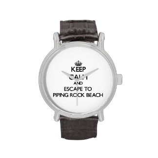 Keep calm and escape to Piping Rock Beach New York Wrist Watch