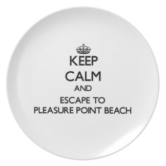 Keep calm and escape to Pleasure Point Beach Calif Plate