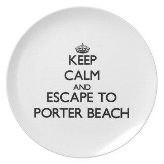 Keep calm and escape to Porter Beach Indiana Plate