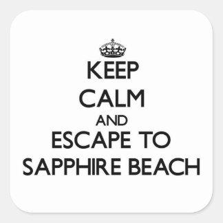 Keep calm and escape to Sapphire Beach Virgin Isla Square Sticker