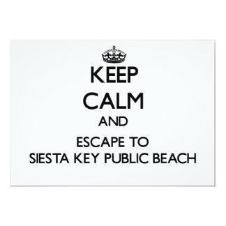 "Keep calm and escape to Siesta Key Public Beach Fl 5"" X 7"" Invitation Card"