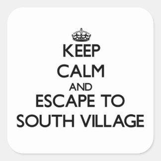 Keep calm and escape to South Village Massachusett Square Sticker