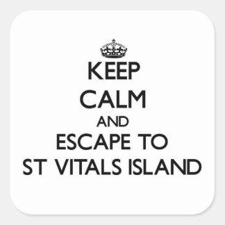 Keep calm and escape to St Vitals Island Michigan Square Stickers