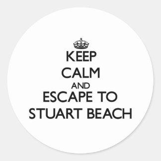Keep calm and escape to Stuart Beach Florida Round Sticker