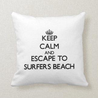 Keep calm and escape to Surfers Beach California Pillows