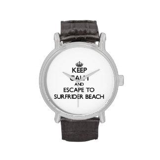 Keep calm and escape to Surfrider Beach California Wristwatch