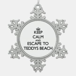 Keep calm and escape to Teddys Beach Rhode Island Ornament