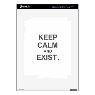 Keep Calm and Exist. gray black blue iPad 3 Decal