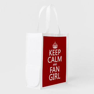 Keep Calm and Fan Girl (in all colors) Reusable Grocery Bag