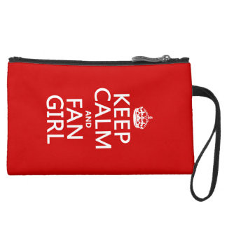 Keep Calm and Fan Girl (in all colors) Suede Wristlet Wallet