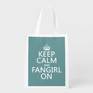 Keep Calm and Fangirl On (in all colors) Reusable Grocery Bag