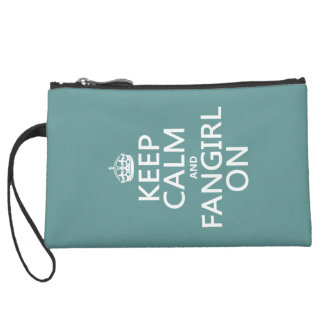 Keep Calm and Fangirl On (in all colors) Suede Wristlet