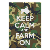 Keep Calm And Farm On Camouflage Poster