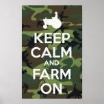 Keep Calm And Farm On Camouflage Print