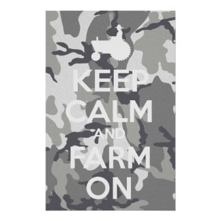 Keep Calm And Farm On Urban Camouflage Poster