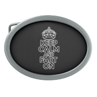 Keep Calm and Fart On Oval Belt Buckles