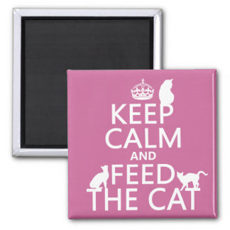 Keep Calm and Feed The Cat 2 Inch Square Magnet