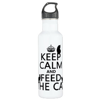 Keep Calm and Feed The Cat Water Bottle