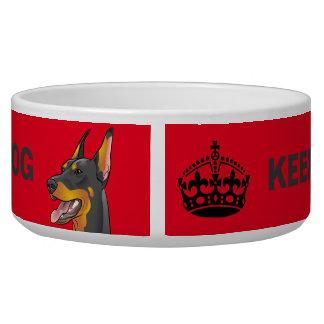 Keep Calm and Feed Your Dog funny Doberman bowl