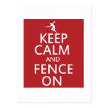 Keep Calm and Fence On Postcard