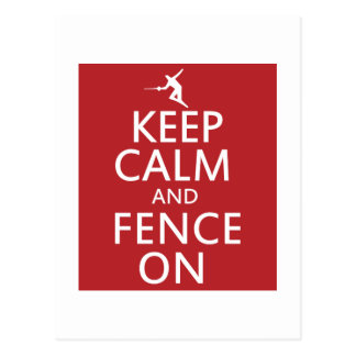 Keep Calm and Fence On Postcard