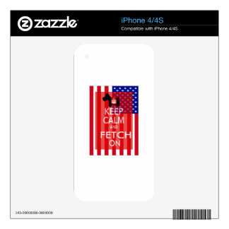 Keep Calm and Fetch On Scottie US Flag Decal For The iPhone 4S