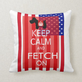 Keep Calm and Fetch On Scottie US Flag Throw Pillow