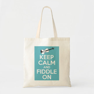 Keep Calm and Fiddle On Blue Budget Tote Bag