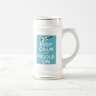 Keep Calm and Fiddle On Blue Beer Stein