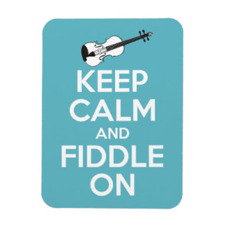 Keep Calm and Fiddle On Blue Flexible Magnet