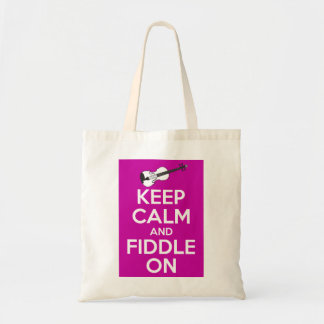 Keep Calm and Fiddle on (Fuschia Pink) Budget Tote Bag