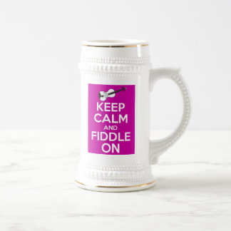 Keep Calm and Fiddle on (Fuschia Pink) Beer Stein