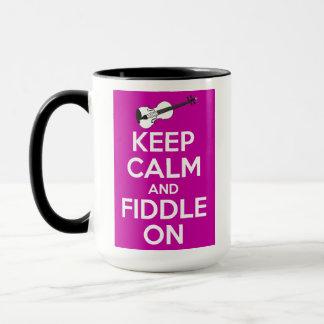 Keep Calm and Fiddle on (Fuschia Pink) Mug