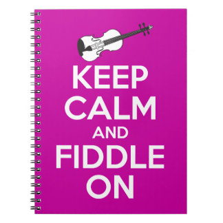 Keep Calm and Fiddle on (Fuschia Pink) Notebook