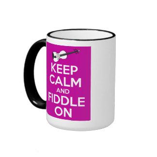 Keep Calm and Fiddle on (Fuschia Pink) Ringer Mug