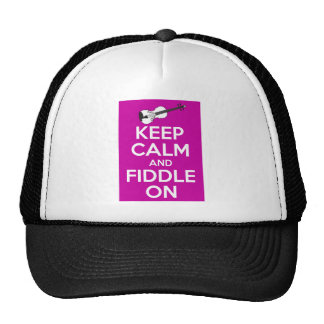 Keep Calm and Fiddle on (Fuschia Pink) Trucker Hat