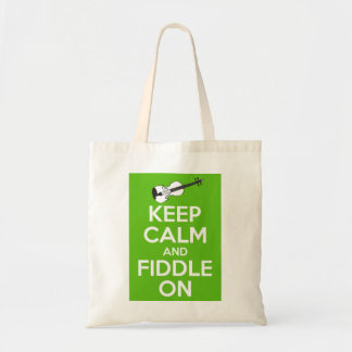 Keep Calm and Fiddle on Green Canvas Bags
