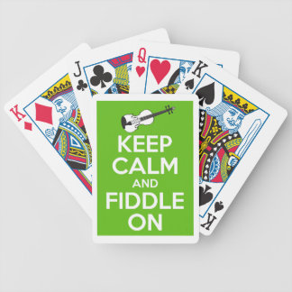 Keep Calm and Fiddle on (Green) Bicycle Playing Cards