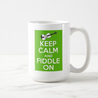 Keep Calm and Fiddle on (Green) Coffee Mug