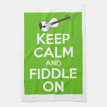 Keep Calm and Fiddle on (Green) Hand Towels