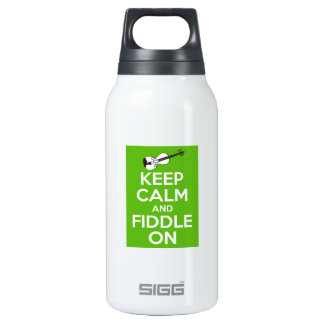 Keep Calm and Fiddle on (Green) Insulated Water Bottle